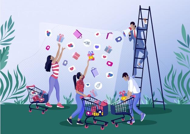 Persone cattura regalo, shopping bag, icone del cuore. Vettore Premium