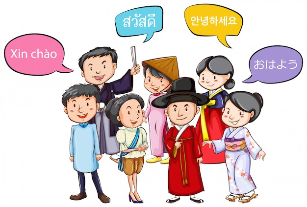 Persone che accolgono in diverse lingue Vettore Premium