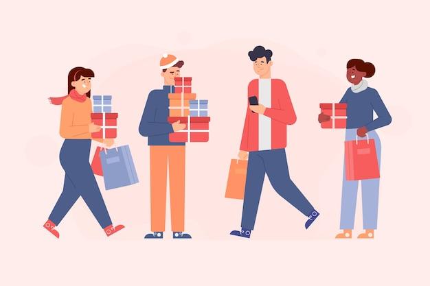Persone che acquistano regali di natale Vettore gratuito