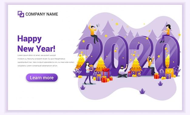 Persone che celebrano il nuovo anno con banner decorazione, regali e fuochi d'artificio Vettore Premium