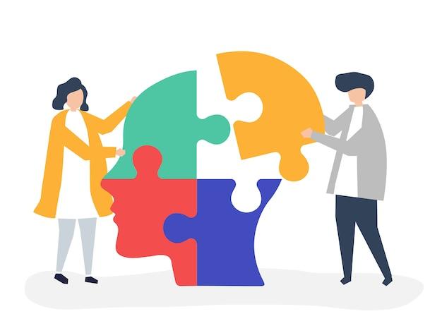 Persone che collegano pezzi di puzzle di una testa insieme Vettore gratuito