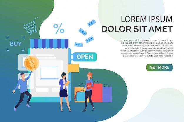 Persone che comprano merci nel negozio online con testo di esempio Vettore gratuito