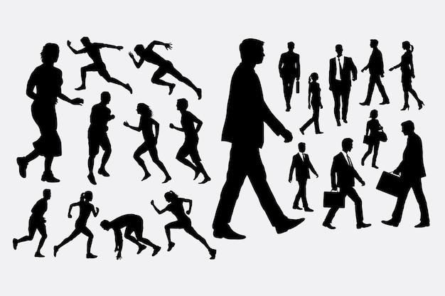 Sagome Persone Che Camminano.Persone Che Corrono E Camminano Silhouette Scaricare