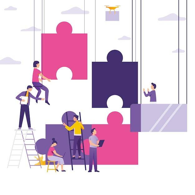 Persone che costruiscono e collegano puzzle Vettore Premium