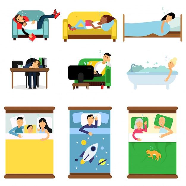 Persone che dormono a casa, sul set di lavoro, uomini e donne che dormono nel letto, divano con bambini, animali domestici, insieme illustrazioni di cartoni animati Vettore Premium