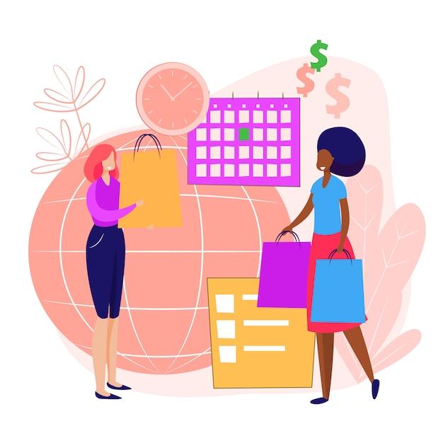 Persone che fanno shopping landing page Vettore gratuito
