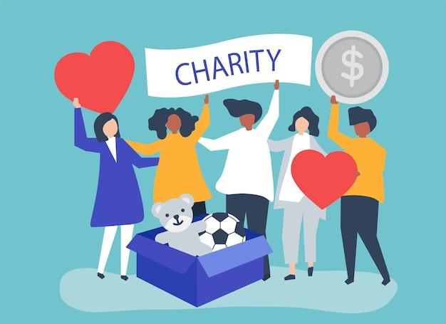 Persone che fanno volontariato e donano denaro e oggetti Vettore gratuito