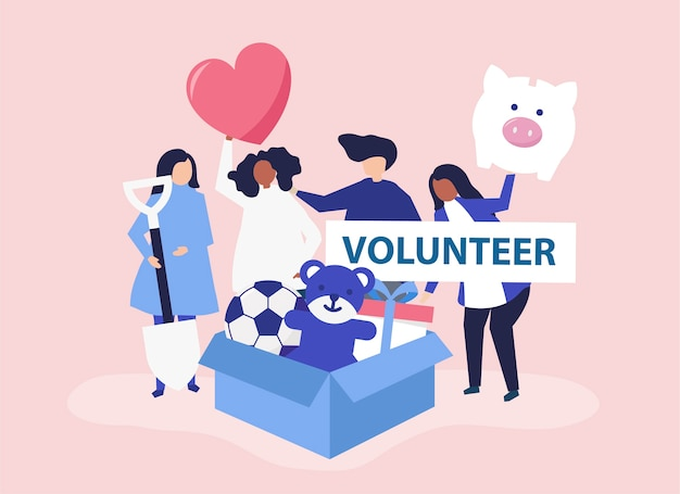 Persone che fanno volontariato e donano denaro Vettore gratuito