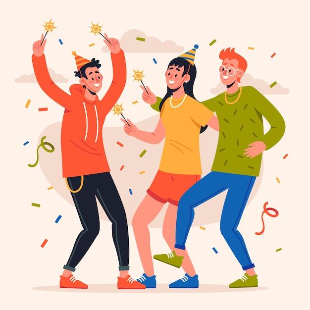 Persone che festeggiano insieme Vettore gratuito