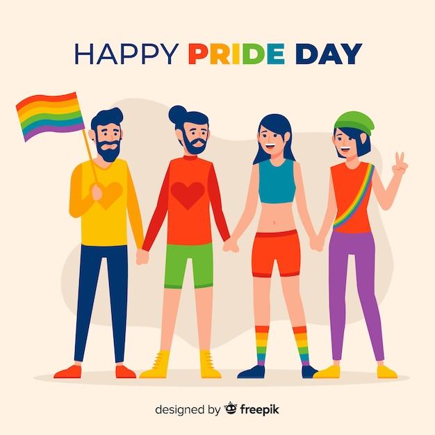 Persone che festeggiano la giornata dell'orgoglio Vettore gratuito
