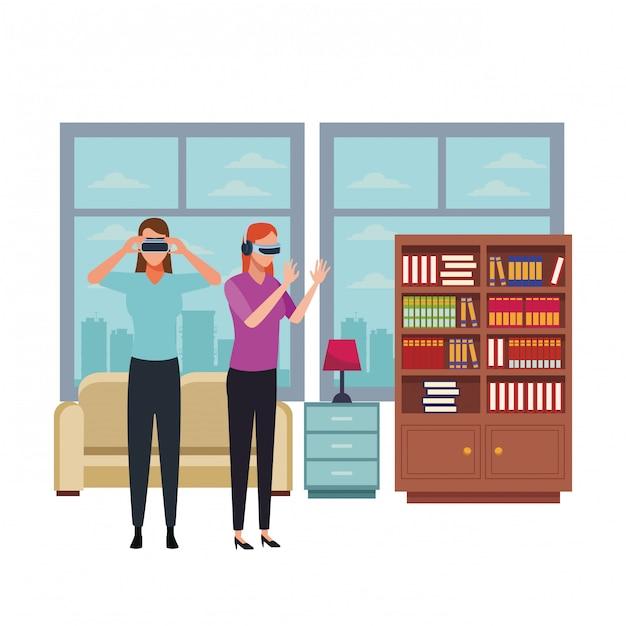 Persone che giocano con gli occhiali per realtà virtuale Vettore Premium