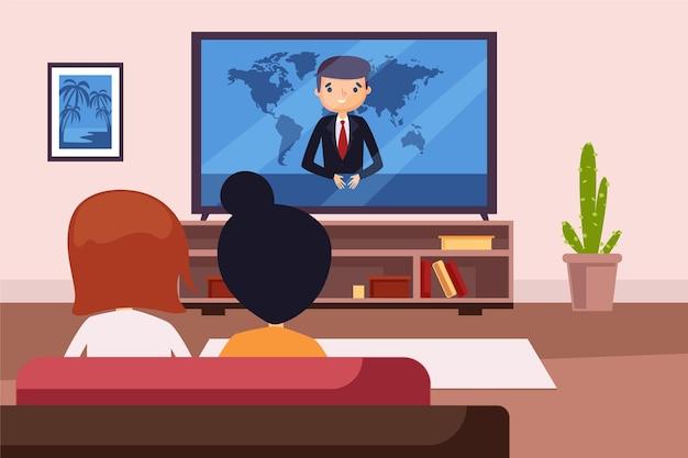 Persone che guardano le notizie a casa Vettore gratuito
