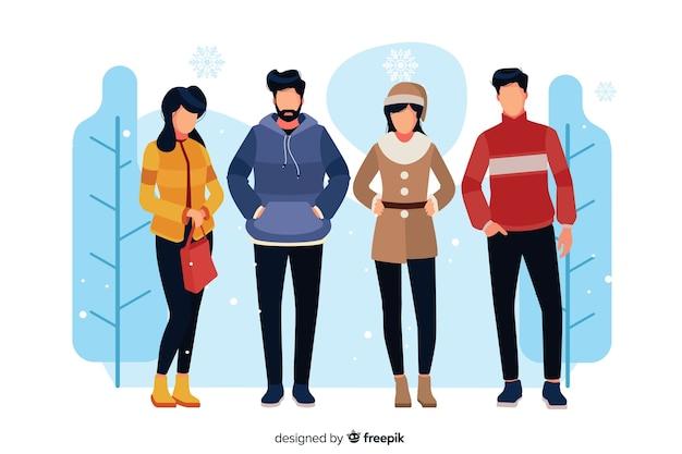Persone che indossano abiti invernali illustrati Vettore gratuito