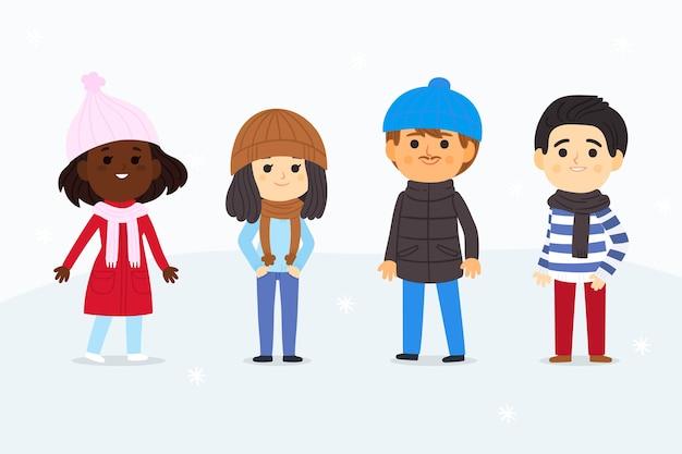 Persone che indossano abiti invernali impostati Vettore gratuito