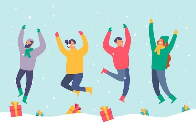 Persone che indossano abiti invernali saltando Vettore gratuito