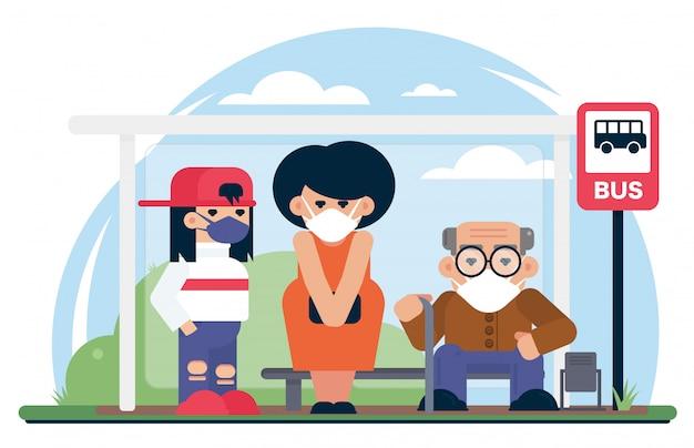 Persone che indossano maschere alla fermata dell'autobus. quarantine, coronavirus covid-19, 2019-ncov polmonite si è diffusa in molte città del mondo illustrazione di cartone animato Vettore Premium