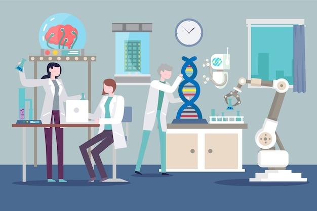 Persone che lavorano in un laboratorio scientifico Vettore gratuito