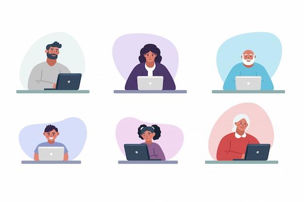 Persone che lavorano su laptop e casa e in ufficio al tavolo Vettore Premium