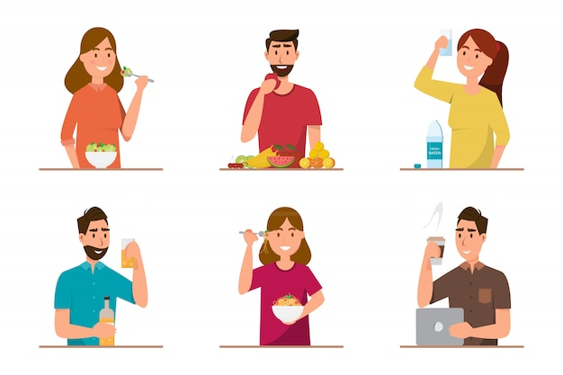 Persone che mangiano cibi sani e fast food di carattere diverso Vettore Premium
