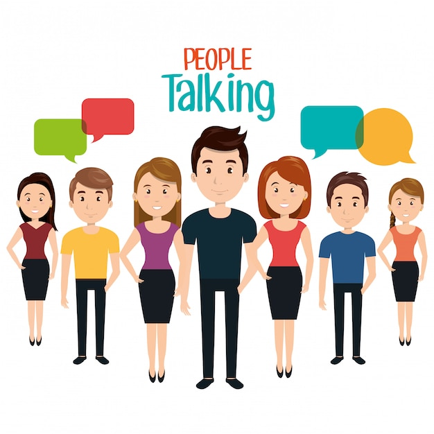Persone che parlano di comunicazione vocale Vettore Premium