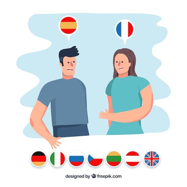 Persone che parlano in diverse lingue Vettore gratuito