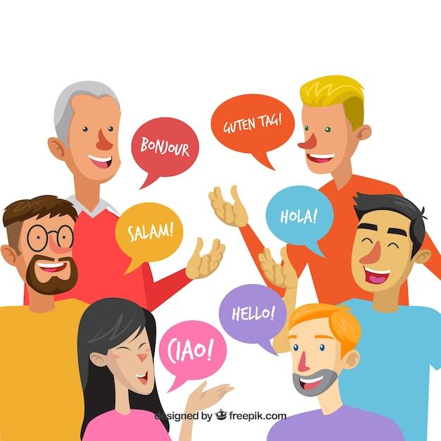 Persone che parlano lingue diverse con design piatto Vettore gratuito