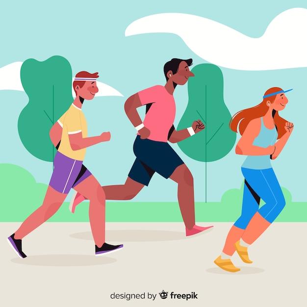 Persone che partecipano a una gara di maratona Vettore gratuito