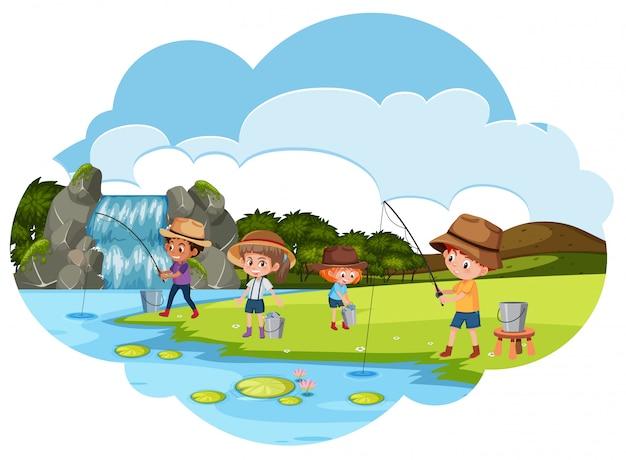 Persone che pescano vicino al fiume Vettore Premium