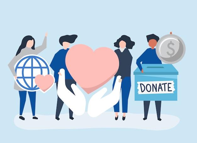 Persone che portano donazioni e icone relative alla carità Vettore gratuito
