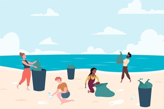 Persone che puliscono la spiaggia Vettore gratuito