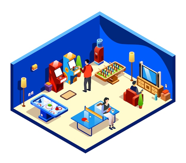 Persone che riposano nella sala ricreativa di sezione trasversale con intrattenimento e divertimenti Vettore gratuito