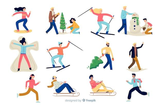 Persone che si godono l'inverno Vettore gratuito
