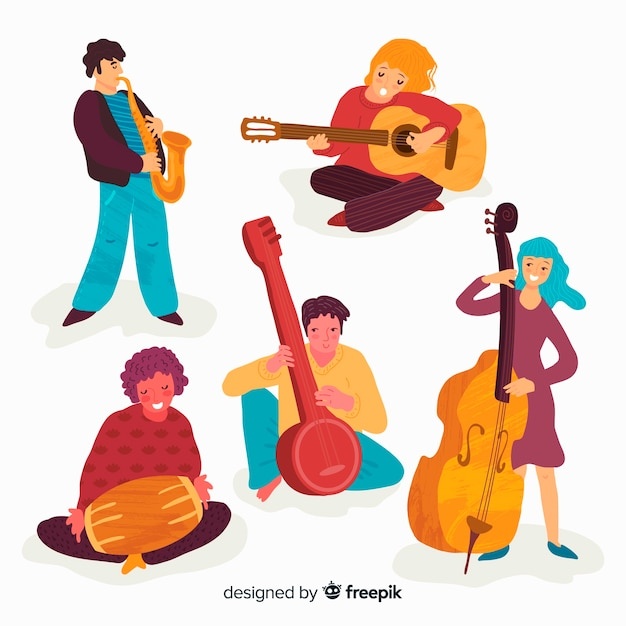 Persone che suonano strumenti musicali Vettore gratuito
