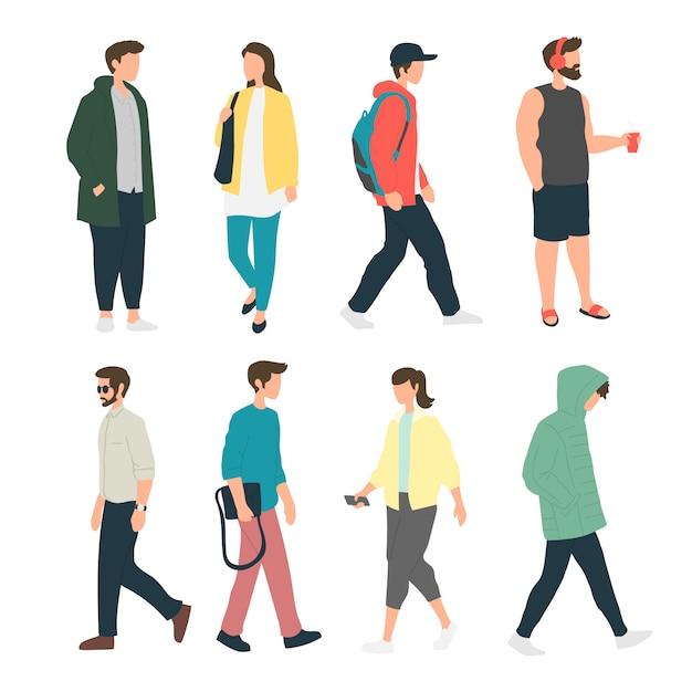 Persone che svolgono varie attività sul marciapiede, persone in piedi nella camminata laterale, pedoni, persone che camminano Vettore Premium