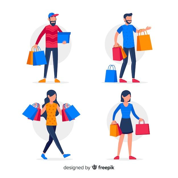Persone che trasportano borse per la spesa Vettore gratuito