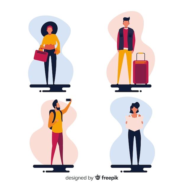 Persone che vanno su uno sfondo di viaggio Vettore gratuito