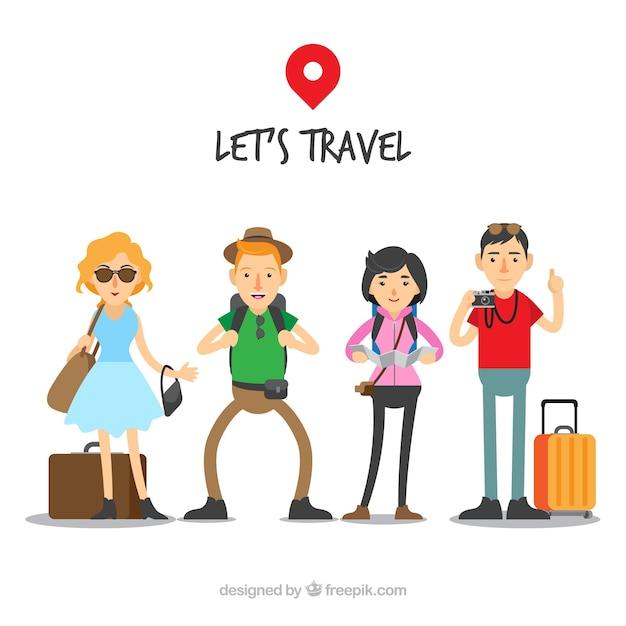 Persone che viaggiano in background in stile piatto Vettore gratuito