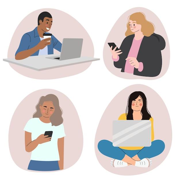 Persone con dispositivi tecnologici Vettore gratuito