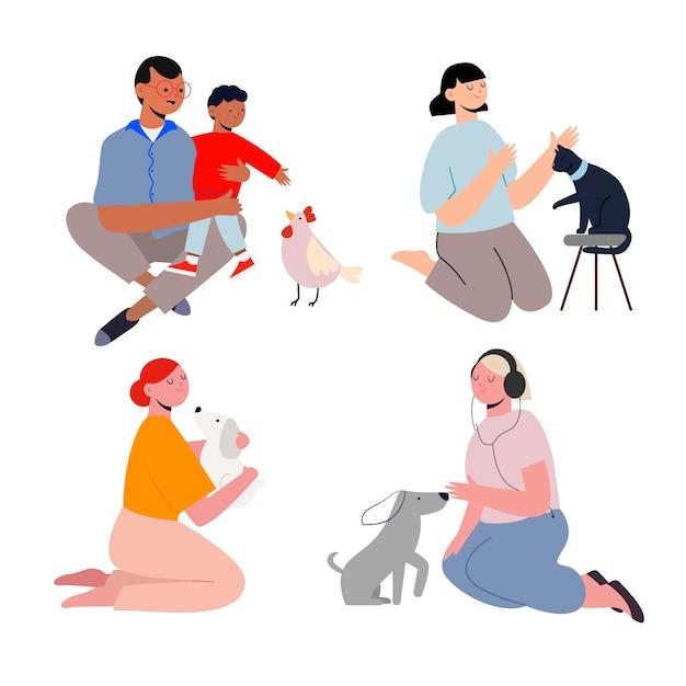 Persone con diversi animali domestici concetto Vettore gratuito