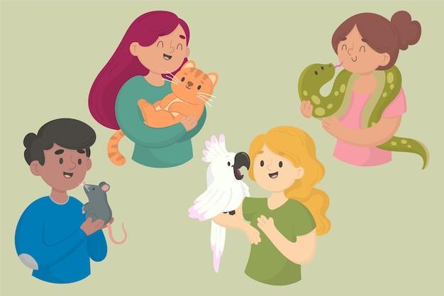 Persone con diversi animali domestici illustrazione Vettore gratuito