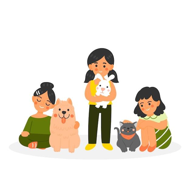 Persone con diversi animali domestici su sfondo bianco Vettore gratuito