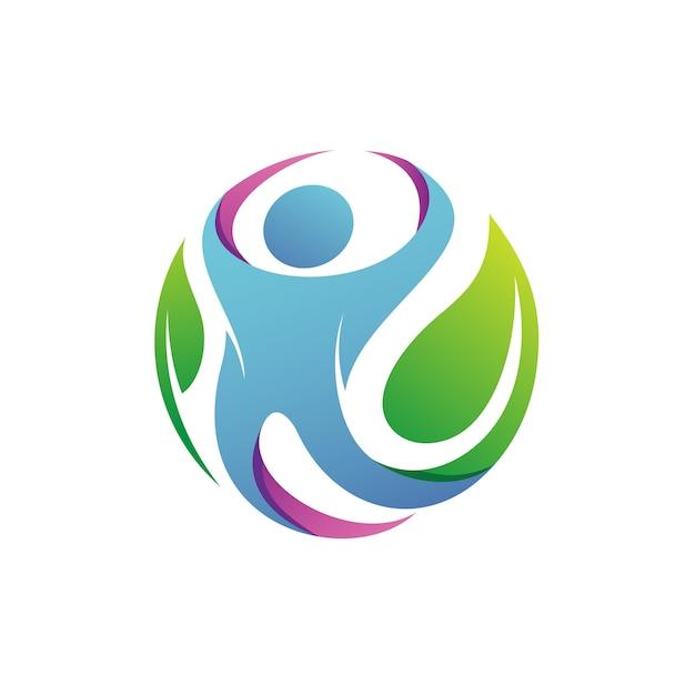 Persone con foglie logo vettoriale Vettore Premium