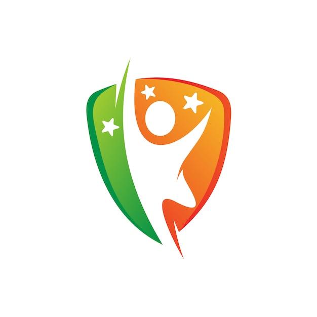 Persone con scudo logo design Vettore Premium
