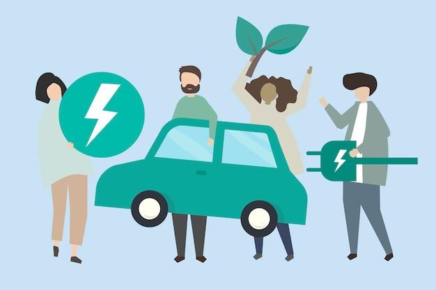 Persone con un'illustrazione di auto elettrica Vettore gratuito