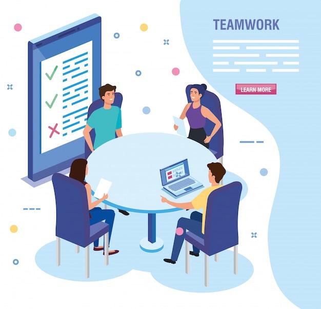 Persone di lavoro di squadra nella riunione modello di carattere avatar Vettore gratuito