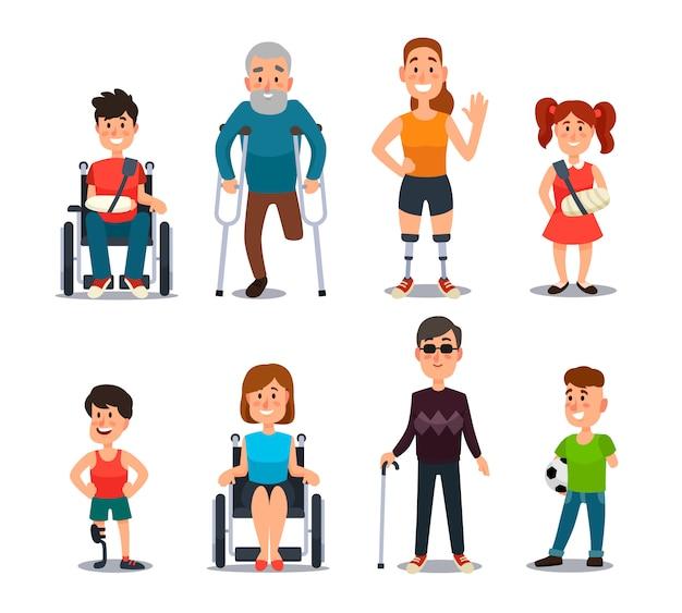 Persone disabili. personaggi malati e disabili dei cartoni animati. Vettore Premium