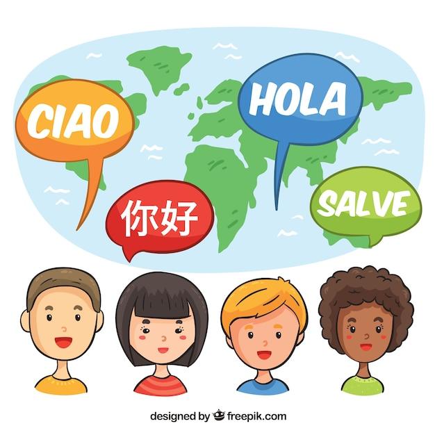 Persone disegnate a mano che parlano lingue diverse Vettore gratuito
