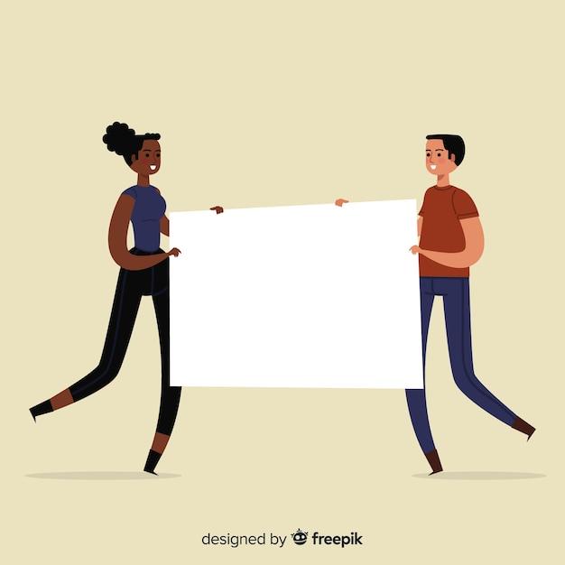 Persone disegnate a mano che tiene segno in bianco Vettore gratuito