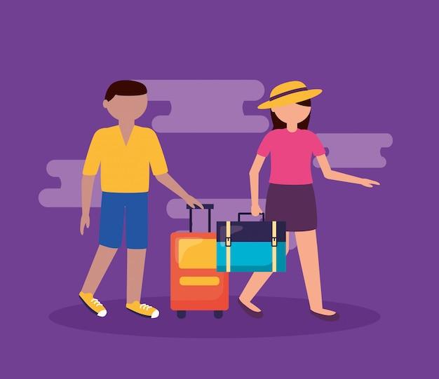 Persone e viaggi in stile piatto Vettore gratuito