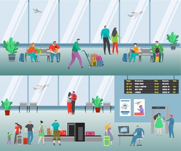 Persone in aeroporto illustrazione. caratteri di viaggio della donna dell'uomo piano del fumetto con il volo in attesa del bagaglio, insieme di linea aerea del passeggero della famiglia Vettore Premium